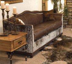Beautiful cowhide and leather Wyoming Western Sofa from Western Passion #westernfurniture