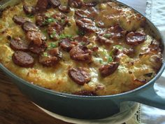 Sweet Smoked German Sausage & Cheesy Green Onion ((carrot)) Mashed Potato Casserole   Food for a Year: