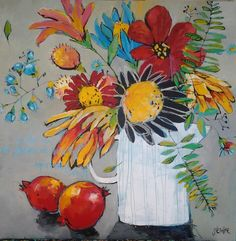 'Pomegranates from our garden' Acrylic on canvas by Glendine