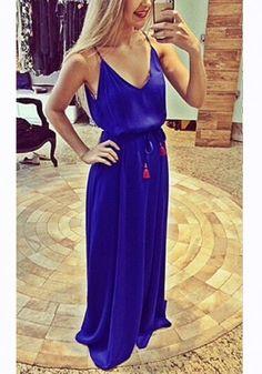 Sapphire Blue Condole Belt Plunging Neckline Maxi Dress