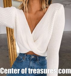 Sale Crop Tops Knitted Sweaters V Neck Ladies Pullover .- 🎁 Sale 🛍️ Crop Tops Knitted Sweaters V Neck Ladies Pullover Sweaters Vintage Sexy Short Style Tops - Mode Outfits, Trendy Outfits, Fashion Outfits, Fall Outfits, Teenage Outfits, Fashion Trends, Workwear Fashion, Fashion Deals, Fashion Blogs
