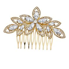 Lux Accessories Gold Tone and Crystal Pave Bridal Bride Flower Floral Hair Comb >>> Click on the image for additional details.
