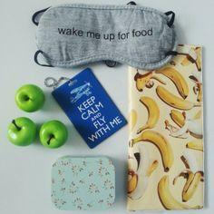 "Banana travel document holders / ""Keep calm"" luggage badge holder / Fun sleeping mask"