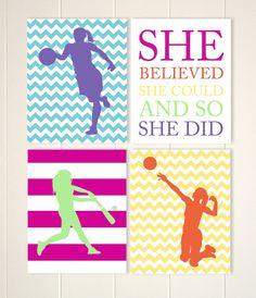 Teen girl gift, sports art, girls basketball, girls volleyball, softball art,inspirational girls art, custom colors, set of 4 prints by PicabooArtStudio