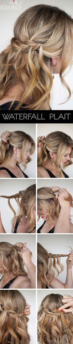 Hair Romance - Waterfall Plait hairstyle tutorials she has used hair from each side and then met in the middle Plaits Hairstyles, Romantic Hairstyles, Pretty Hairstyles, Wedding Hairstyles, Everyday Hairstyles, Hairdos, French Hairstyles, Simple Hairstyles, Hairstyles Men