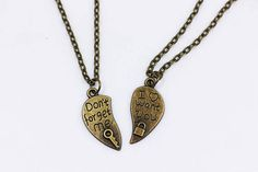 Love Puzzle Necklace Don't Forget Me I Want You Antique