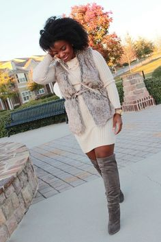 a fur vest is perfect for layering over a sweater dress like this one. add over-the-knee boots for a touch of sex appeal