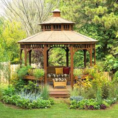 Backyard Kit Gazebo, love the flower boxes all around