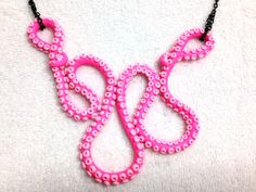 Pink Tentacle Polymer Necklace by SammyCraft on Etsy, $30.00
