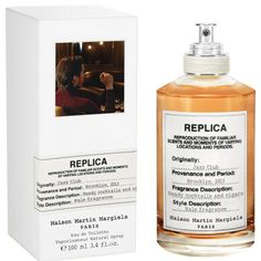 "The label describes Maison Martin Margiela Replica Jazz club as a combination of ""Heady cocktails and cigars"". Alienor Massenet chooses to base Jazz Club on the twin pillars of booze and tobacco Replica Jazz Club, Maison Martin Margiela Replica, Perfume Reviews, Clary Sage, New Fragrances, Perfume Bottles, Revanche, Packaging, Brand Design"