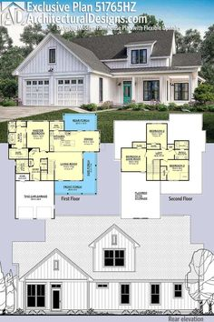 Introducing Architectural Designs Exclusive House Plan This modern farmhouse gives you 4 bedrooms (or 3 Game Room) and has a board and batten exterior with a wraparound porch.Over square feet of heated living space. 6 Bedroom House Plans, Basement House Plans, Garage House, House Plans One Story, Country House Plans, Country Homes, Modern Farmhouse Exterior, Farmhouse Style, Farmhouse Ideas