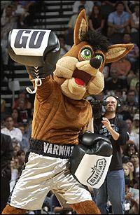 San Antonio Spurs Championship Trophies | San Antonio Spurs Coyote http://www.nba.com/spurs/mascot/derk_050610 ...