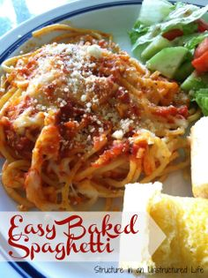 Easy Baked Spaghetti http://www.structureinanunstructuredlife.com/2014/06/22/easy-baked-spaghetti/?utm_campaign=coschedule&utm_source=pinterest&utm_medium=Beth%20At%20Structure%20(Yummy%20Dinners)&utm_content=Easy%20Baked%20Spaghetti