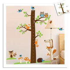 Højdemåler med skovens dyr mega - Højdemåler med ugler, egern, pindsvin og andre dyr B 182 x H 185 cm