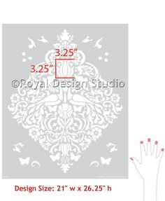 Damask Love Birds Lace Wall from Royal design studio http://www.royaldesignstudio.com/products/love-birds-lace-damask-stencil