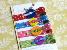NEW  Carnival  Everyday Button Hair Clip Set / by ELLEigatorClips, $7.95