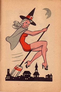 Vintage Witch - Retro Halloween Illustration - Mid Century Vintage Halloween