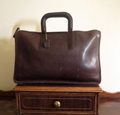 Coach Handle Portfolio Briefcase Laptop Carrier In  Mocha ( Burgundy) Leather Made In The Factory In NYC-Beautifully Worn by ProVintageGear on Etsy