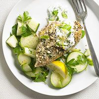 BHG's Newest Recipes:Greek Chicken with Cucumber Salad Recipe