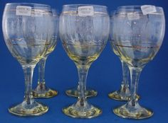 6 Yellow Iridescent Etched Crystal Wine Water Goblets Swirled Gold Trim Italy | eBay