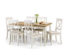 Palmetto White and Oak Dining Table and Chairs  £359  Table 150