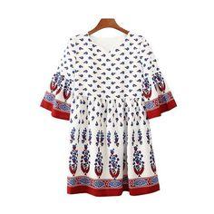 Sweet Style V-Neck Flare Sleeve Printed Bohemian Women's Mini Dress... ❤ liked on Polyvore featuring dresses, white day dress, white bohemian dress, short boho dress, white v neck dress and bell sleeve mini dress