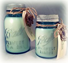 Vintage pint and quart Ball© jar candles by Glow Candles.