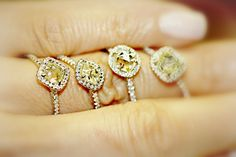 Classic rough diamond rings with a yellow center raw diamond. #jewelry #engagement #weddingrings