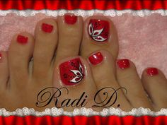 Red Toe Nail Designs Gallery red nails with black and white design toe nails red Red Toe Nail Designs. Here is Red Toe Nail Designs Gallery for you. Red Toe Nail Designs red nails with black and white design toe nails red. Cute Toe Nails, Hot Nails, Fancy Nails, Pretty Nails, Hair And Nails, Pretty Toes, Pedicure Designs, Pedicure Nail Art, Toe Nail Designs