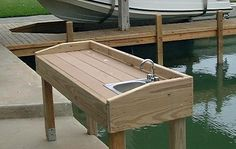 PVC fish cleaning table Fish Cleaning Table, Fish Cleaning Station, Spas, Fishing Table, Lake Dock, Boat Dock, Outdoor Sinks, Boat Building Plans, Fish Camp