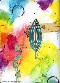Ronda Palazzari Here Art Journal - giraffe print texture under the colours
