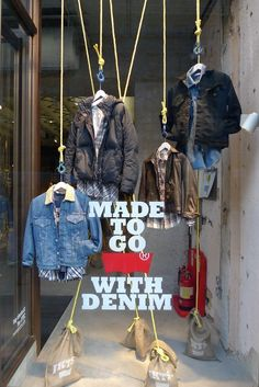 """Levis storefront window display: """"made to go with denim"""" boutique store displays, Boutique Store Displays, Clothing Store Displays, Store Window Displays, Retail Displays, Shop Displays, Denim Window Display, Window Display Design, Clothing Store Interior, Clothing Store Design"""