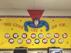 """This looks like a job for. Jesus"" Bulletin board in classroom Superhero Bulletin Boards, Superhero Classroom Theme, School Bulletin Boards, Classroom Design, Future Classroom, School Classroom, Classroom Themes, Superhero School, Superhero Room"