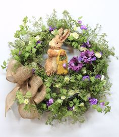 Spring Easter Wreath Easter Bunny Wreath Country by TheWreathShed