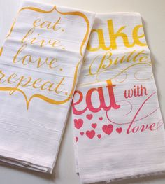 Bake with Butter Rainbow Roll Tea Towel & Eat.Live.Love.Repeat. Tea Towel Gift Hostess Set. $25.00, via Etsy.