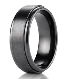 Exceptional Men\u0027s Black Titanium Wedding Band With Step Edge And Satin Finish