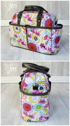 Awesome diaper bag sewing pattern.  Handles, shoulder strap and even stroller straps to sling the bag from the handles.  10 pockets - this diaper bag sewing pattern has everything!  Photos by Jenny Greene