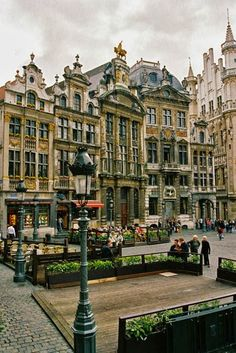 Brussels, Belgium - Aug 2013. Stopped in this square after arriving in Europe and had Belgian waffles with the family