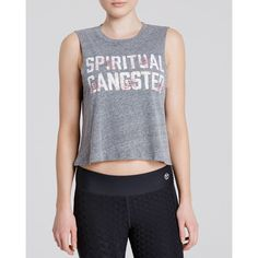 Spiritual Gangster Tank - Floral Crop ($35) ❤ liked on Polyvore