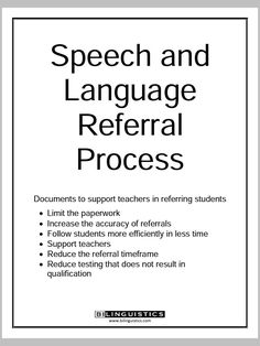 Referral Portfolio – Decision Tree with Teacher Letters and 35 Speech & Language Pages. This packet is AMAZING for any SLPs (monolingual or bilingual). Click this link to see the full 59-page document: http://speechpathologyceus.net/wp-content/uploads/2012/01/Speech-and-Language-Referral-Packet.pdf Spanish Speech Therapy - SLP Resources Repinned by SOS Inc. Resources pinterest.com/sostherapy/.