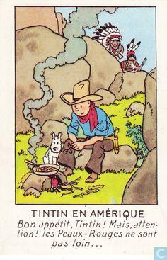 Carte postale - Tintin - Tintin en Amérique