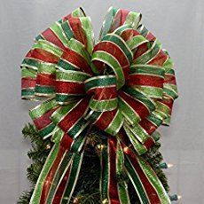 Metallic stripe Christmas tree topper bow is created with a contemporary ribbon with wire edge. Shop for unique Christmas tree topper bows. Ribbon On Christmas Tree, Christmas Ribbon, Christmas Tree Themes, Holiday Tree, Christmas Tree Toppers, Xmas Decorations, Christmas Projects, White Christmas, Christmas Wreaths