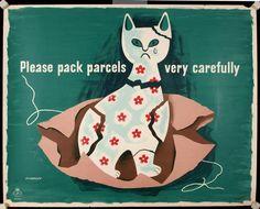 Trademark Fine Art 'Please Pack Parcels' Canvas Art by Vintage Apple Collection, Size: 24 x 32 Vintage Posters, Vintage Art, Retro Posters, Vintage Cartoon, Vintage Ephemera, Vintage Images, Artist Canvas, Cat Art, Canvas Wall Art