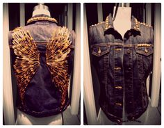 Ventage Clothing. Studded Denim Vest. Pete Wentz approved. Gap, size S. Gold angel wings. Safety pins. Safety pin angel wings. Gold pyramid studs. Unique. Awesome. Rock and roll.