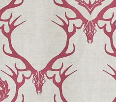 Deer Damask Fabric A neutral linen union with a claret red design of stag head and antlers with leaf and thistle design