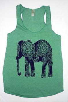 NEW Paisley ELEPHANT Tri Blend Tank Top by FreeBirdCloth on Etsy, $20.00