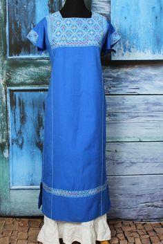 Baby Blue & Denim Blue Long Mayan Huipil Larrainzar, Chiapas Mexico Hand Woven  #Handmade #MexicanDress