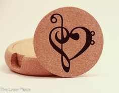 New to TheLaserPlace on Etsy: Set of Music Heart Cork Coasters Laser Engraved - I love Music (20.00 USD)