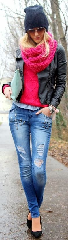 Studded Denim + Oversized Knit Scarf + Moto