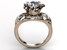 14k rose gold diamond unusual unique floral engagement by Jewelice, $1470.00